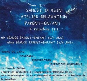 29 juin : atelier Relaxation Parent-Enfant