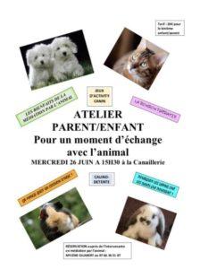 26 juin: Atelier «Moment d'échange avec l'animal»