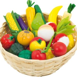 Corbeille de fruits et légumes en bois