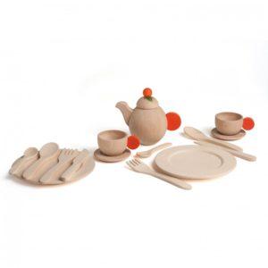Ensemble de vaisselle bois naturel Erzi 10678