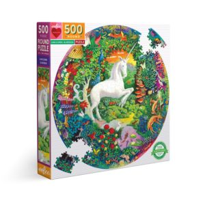 Le jardin de la Licorne, puzzle rond 500 pièces